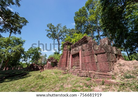 Banteay Srei or Banteay Srey is a 10th-century Cambodian temple dedicated to the Hindu god Shiva. Located in the area of Angkor, Cambodia. #756681919