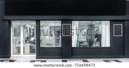 Outdoor mock up,store template,front view black shop facade with windows display, three posters. #756698473