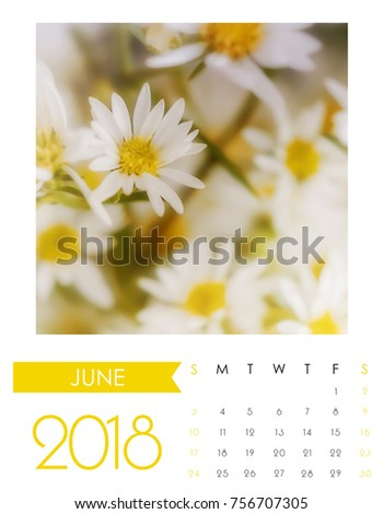 flowers Photo Calendar 2018, June,
