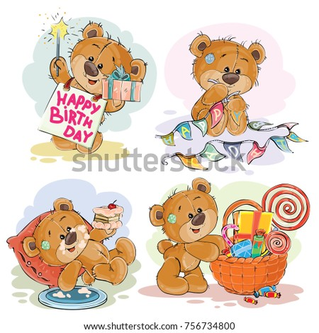 Set of clip art illustrations of brown teddy bear wishes you a happy birthday. Print, template, design element for greeting cards