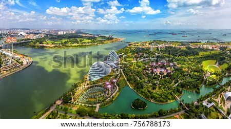 Bird eyes view of Singapore City skyline in Singapore.  #756788173