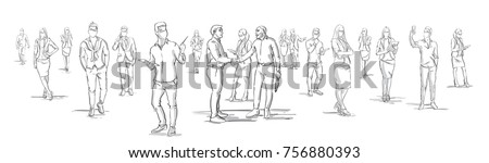 Silhouette Businessmen Shake Hands With Business People Group On Background, Businesspeople Shaking Hands Horizontal Banner Vector Illustration Royalty-Free Stock Photo #756880393