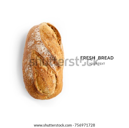 Creative layout made of bread on the white background. Flat lay. Food concept. Royalty-Free Stock Photo #756971728