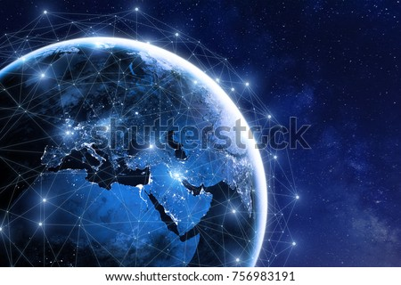 Global communication network around planet Earth in space, worldwide exchange of information by internet and connected satellites for finance, cryptocurrency or IoT technology, image furnished by NASA Royalty-Free Stock Photo #756983191