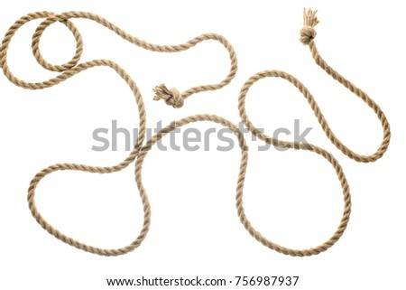 close-up view of brown strong nautical rope with knots isolated on white #756987937