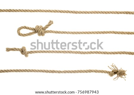 close-up view of brown nautical ropes with knots isolated on white  Royalty-Free Stock Photo #756987943