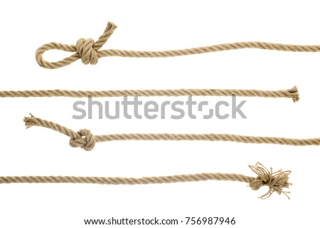 close-up view of brown strong nautical ropes with knots isolated on white  Royalty-Free Stock Photo #756987946