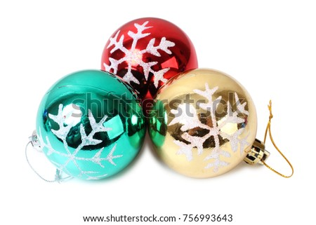 Christmas balls on white background #756993643