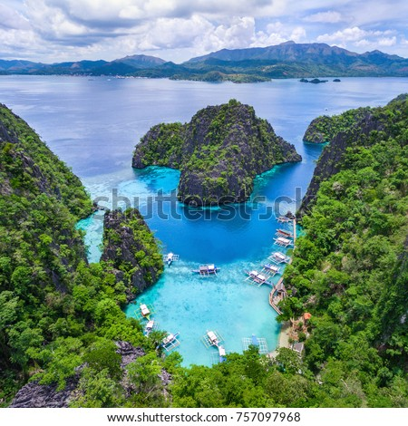 Coron, Palawan, Philippines, aerial view of Kayangan Lake. #757097968