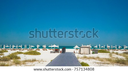 Vacation holidays beach background. Abu Dhabi. Environmentally friendly beach on the island of Saadiyat. #757134808