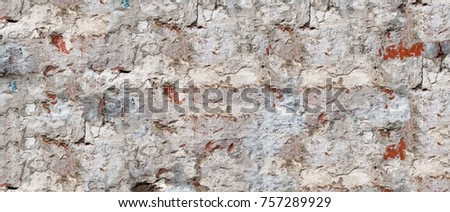 Abstract multicolor grunge background with abstract colored texture. Various color pattern elements. Old vintage scratches, stain, paint splat, brush stroke, spots. Horizontal weathered wall backdrop #757289929