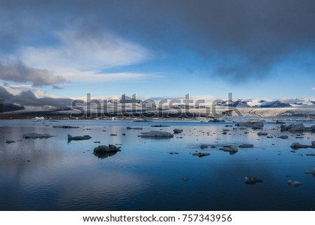 icelandic ice lagoon of jokulsarlon in the morning in summer #757343956
