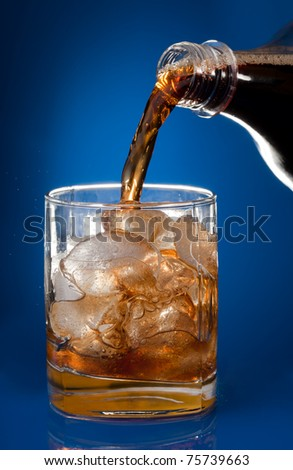 Filling glass with cola from a bottle on blue background #75739663
