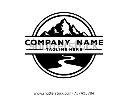Black Mountain Nature with River Circle Vintage Company Logo Stamp Royalty-Free Stock Photo #757435984