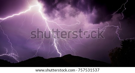 Powerful lightning during thunderstorm