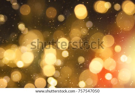 Christmas and Happy new year on blurred bokeh with snowfall banner background #757547050