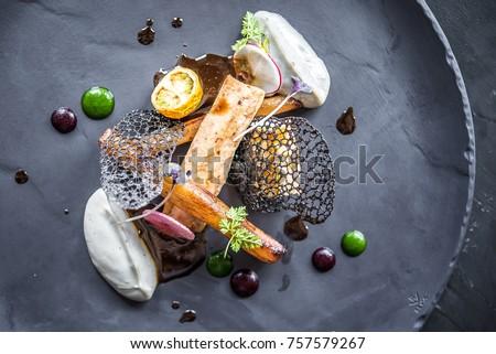 food elegant black plate Royalty-Free Stock Photo #757579267