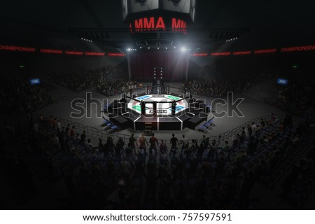 big mma fighting arena with lots of fans 3d rendering Royalty-Free Stock Photo #757597591