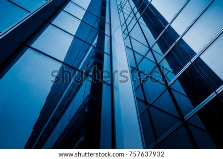 closeup of glass wall of modern building #757637932