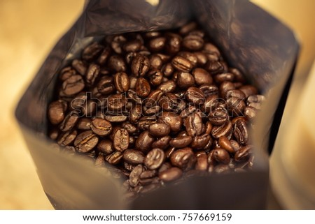 coffee beans in bag  #757669159