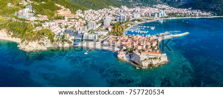 Budva, Montenegro from the air. Top view. Aerial view. #757720534