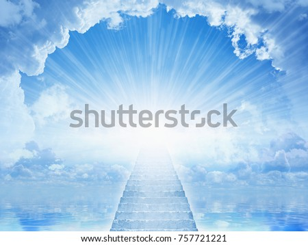Peaceful heavenly background - light from heaven, staircase to heaven, light of hope in blue skies #757721221
