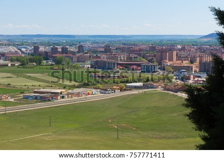 General panoramic view of the town of Palencia, Spain #757771411