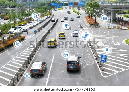 Smart car , Autonomous self-driving mode vehicle on metro city road iot concept with graphic sensor radar signal system and internet sensor connect. #757774168