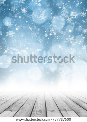 Christmas photography backdrop with wooden floor and snowflake background #757787500