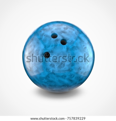 Blue bowling ball isolated on white background. 3D rendering. #757839229