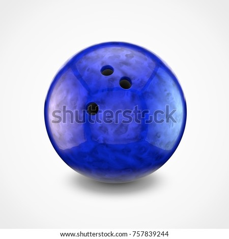 Blue bowling ball isolated on white background. 3D rendering. #757839244