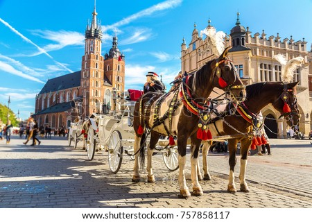 Horse carriages at main square in Krakow in a summer day, Poland #757858117