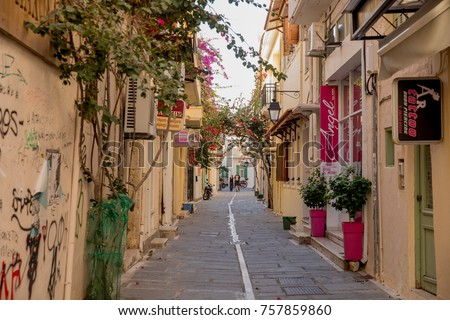Crete, Greece, 29 october 2017 - Old streets in the lovely village Rethymnon, also known as Rethymno  #757859860