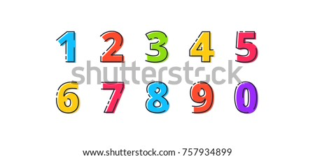 FLATLI. Flat line font. Latin alphabet  numbers from 1 to 0. Signs in line flat style. Cute modern capital numbers. Vector trendy flat line figures Royalty-Free Stock Photo #757934899
