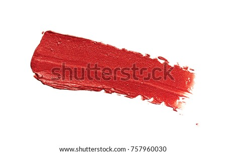 Lipstick with shimmer smudged on isolated background #757960030