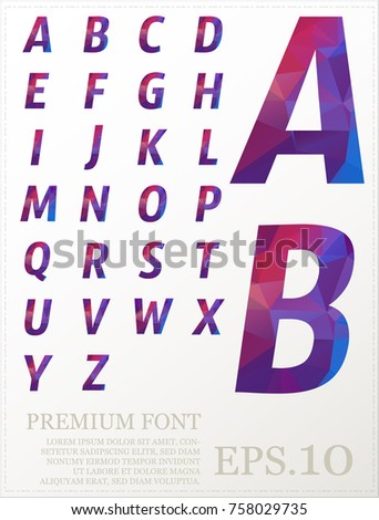 Polygonal alphabat font vector eps.10 #758029735
