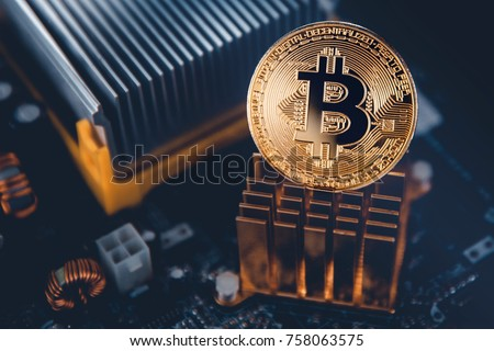 Gold Bitcoin electronic computer processor board #758063575
