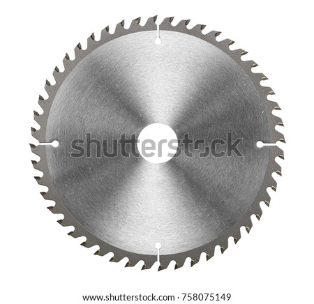 Circular saw blade for wood work isolated on white, included clipping path Royalty-Free Stock Photo #758075149