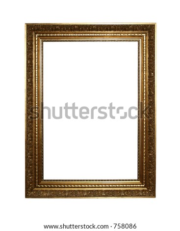 Large golden portrait frame isolated on white background with clipping path for easy masking #758086
