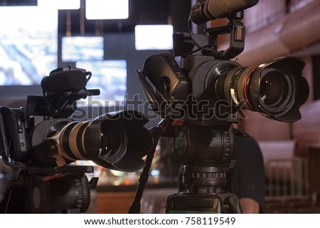 Television broadcast from the theater. Professional digital video camera. #758119549
