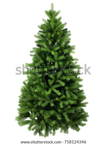 christmas tree, green pine isolated on white closeup #758124346