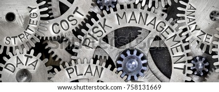Macro photo of tooth wheel mechanism with RISK MANAGEMENT concept related words imprinted on metal surface Royalty-Free Stock Photo #758131669