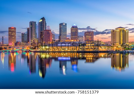 Tampa, Florida, USA downtown skyline on the bay.