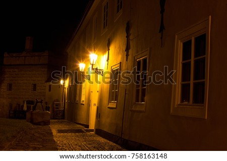 Night town of Ceský Krumlov, castle stairs, baroque houses and courtyards. #758163148