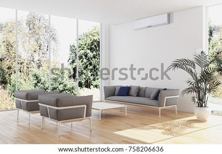 Modern bright room with air conditioning, 3D rendering illustration #758206636