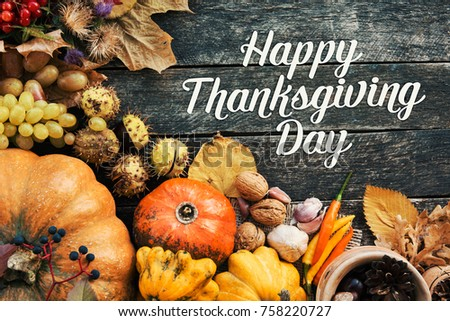 Happy Thanksgiving day concept - traditional holiday food with pumpkins on old wooden.  #758220727