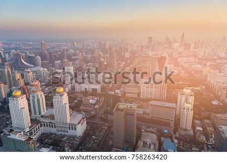 Aerial view City downtown business area sunset skyline, cityscape background #758263420