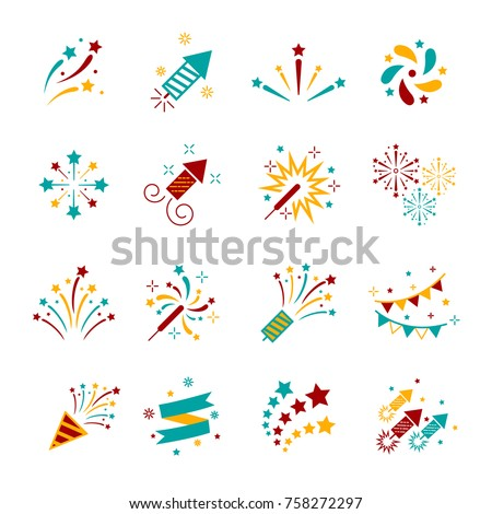 Celebration iconic. Firework icon colorful set with petard, stars. Festival and event, celebrate and party. Vector illustrator Royalty-Free Stock Photo #758272297
