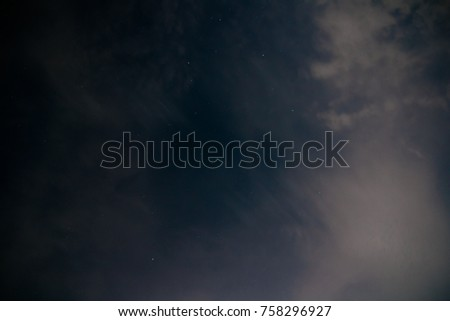 Blue dark night sky with cloud and star.  #758296927
