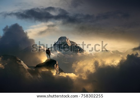 climber in the mountains Royalty-Free Stock Photo #758302255